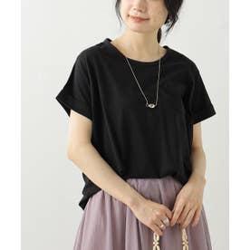 クルーネック裾ラウンドTシャツ (黒)
