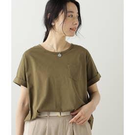 クルーネック裾ラウンドTシャツ (カーキ)