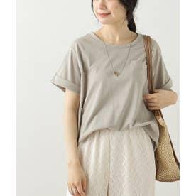 クルーネック裾ラウンドTシャツ (グレージュ)