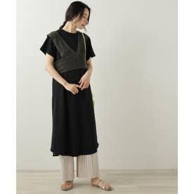 ニットベストTシャツワンピースセット (黒)
