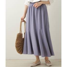 裾切り替えフレアースカート (ブルー)