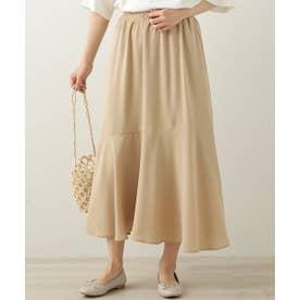 裾切り替えフレアースカート (ベージュ)