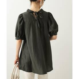 バックリボン5分袖シャツ (スミクロ)