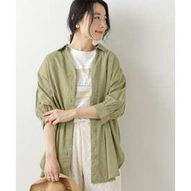 綿麻ボリューム袖スキッパーシャツ (カーキ)