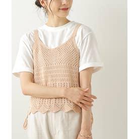 透かし柄キャミTシャツセット (ピンク)