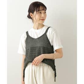 透かし柄キャミTシャツセット (スミクロ)