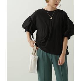 袖異素材プルオーバー (黒)