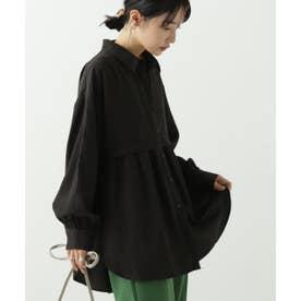 胸切り替えギャザーシャツ (黒)