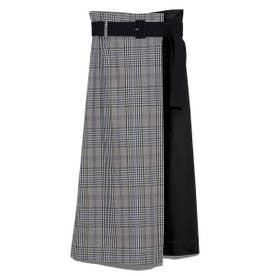 ベルト付ロングタイトスカート (BEG)