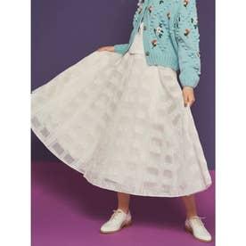 格子レース刺繍スカート (OWHT)
