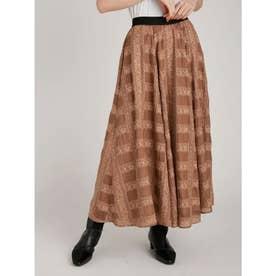 格子レース刺繍スカート (BRW)