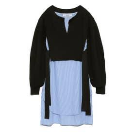 シャツドッキングセーター (BLK)