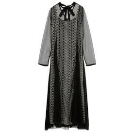 フラワー刺繍ロングドレス (BLK)