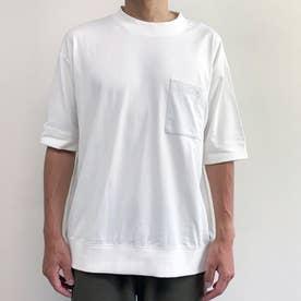 スウェットディティールリブ付きクルーネックTシャツ (09ホワイト)