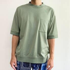 スウェットディティールリブ付きクルーネックTシャツ (46カーキ)