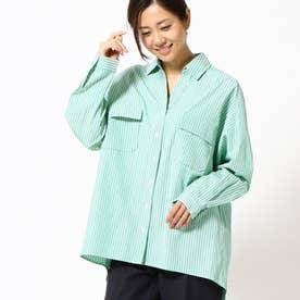 ストライプ柄ミリタリーシャツ (40グリーン)