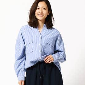ストライプ柄ミリタリーシャツ (60ブルー)