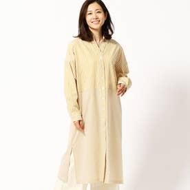 バイアスストライプロングシャツドレス (20イエロー)