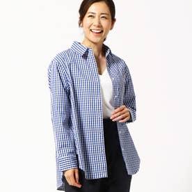 ギンガムチェック柄2WAYシャツ (60ブルー)
