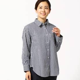 ギンガムチェック柄2WAYシャツ (67ネイビー)