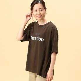 2配色ロゴプリントTシャツ (13ブラウン)