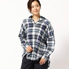 チェック柄長袖ビッグシャツ (67ネイビー)