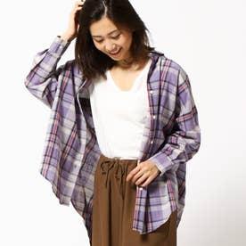チェック柄長袖ビッグシャツ (80パープル)