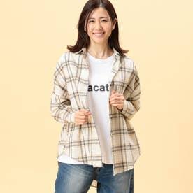 チェック柄長袖ビッグシャツ (24クリーム)
