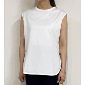 ラウンドヘムノースリーブTシャツ (09ホワイト)