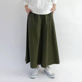 らくちんウエストゴムのスカート見えガウチョパンツ (46カーキ)