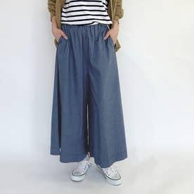らくちんウエストゴムのスカート見えガウチョパンツ (60ブルー)