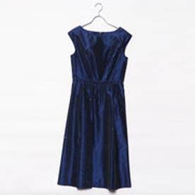 刺繍ワンピースドレス (ネイビー)