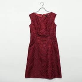 ラメ入り花刺繍ドレス (レッド)