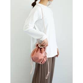 サテンパイピング巾着ショルダーバッグ (Pink)