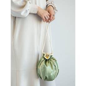 サテンパイピング巾着ショルダーバッグ (Green)