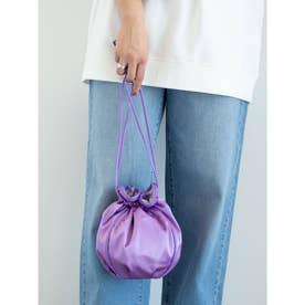 サテンパイピング巾着ショルダーバッグ (Purple)