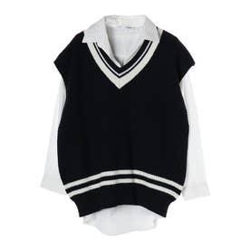 RAY CASSIN SET2点 ラインベスト×シャツ (Navy)