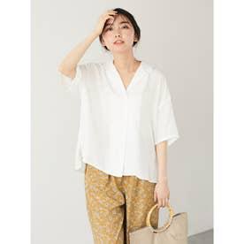 レーヨン混オープンカラーシャツ (Off White)