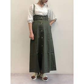 SUGAR SPOON ベルト付ジャンパースカート (Khaki)