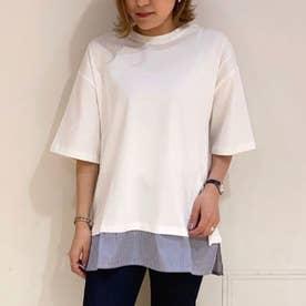 裾スリットレイヤード5分袖プルオーバー (Off White)