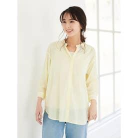 バンドカラー7分袖シャツ (Yellow)