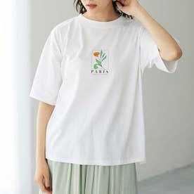 フラワーモチーフTシャツ (Off White)