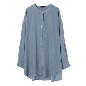 SUGAR SPOON バンドカラーシャツチュニック (Blue)