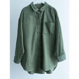 コーデュロイ襟付きシャツ (Khaki)