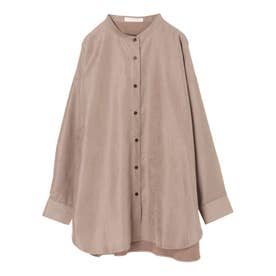 コーデュロイバンドカラーシャツ (Brown)
