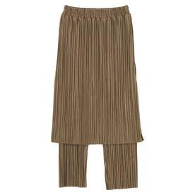 RAY CASSINプリーツスカートレイヤードパンツ (Khaki)