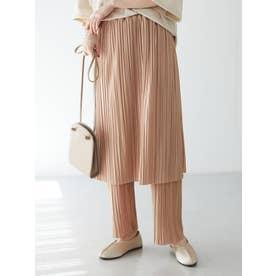 RAY CASSINプリーツスカートレイヤードパンツ (Pink Beige)