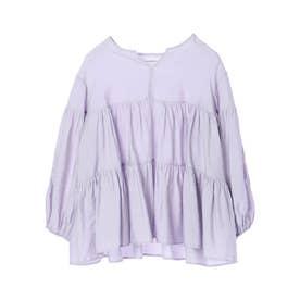 ELENCARE DUE 刺繍ティアードブラウス (Lavender)