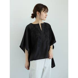 furry rate 刺繍スクエアブラウス (Black)