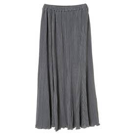 プリーツサテンロングスカート (Gray)